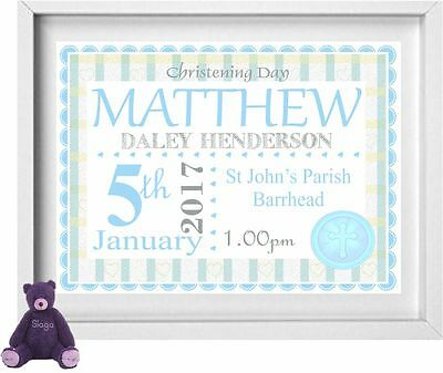 BABY BOY | Personalised Picture | Christening | Gift | FREE POST | (NP167)