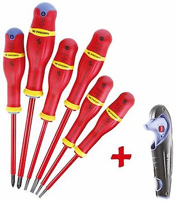 Facom 6 piece VDE Insulated Screwdriver Set + Cable Stripper!! BOXED - 8292939