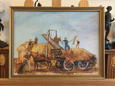 BRITISH SCHOOL - Haymaking - Oil Painting on Canvas/board in Frame