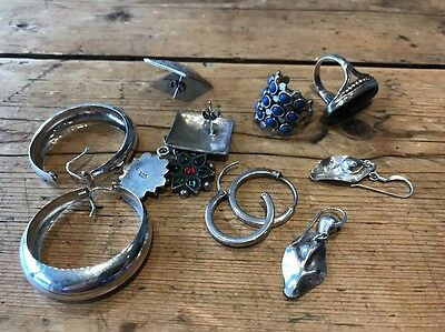 Bundle Of Sterling Silver Earrings And Rings From The Eighties All Hallmarks