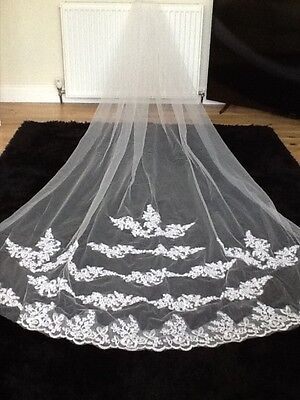 beautiful embroidery detail scolloped edge wedding veil