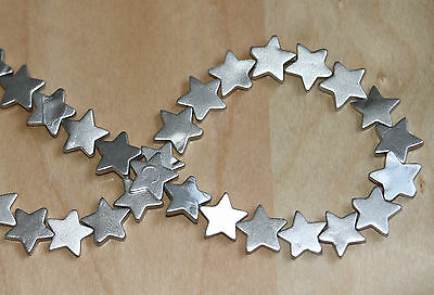 Natural Shell Star Beads 14x14x3mm Silver Colour Plated - Per Strand