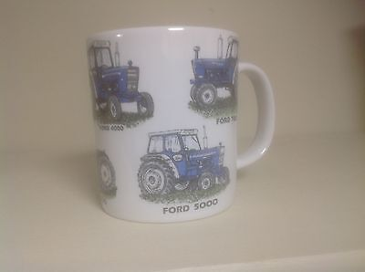 FORD TRACTOR  WITH 6 MODELS  ON CHIP RESISANT PORCELIAN 12oz MUG