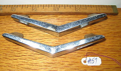 Old Antique 2 Pc Brass Plated Chrome Finish 1960's Era Drawer Handle Pulls # 57