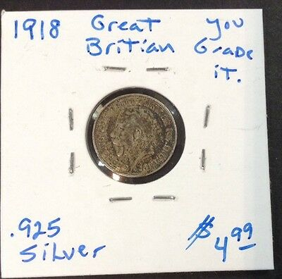 1918 Great Britian 3 Pence coin