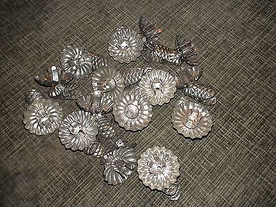 15 Vintage Fluted Tin Mini Candle Clip On Molds
