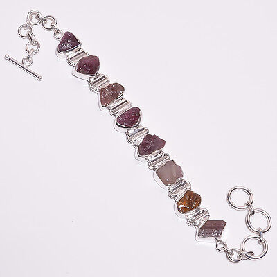 925 Sterling Silver Bracelet, Natural Raw Tourmaline Gemstone Jewelry RSBR110