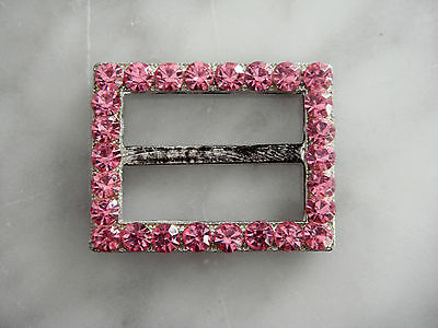 Vintage 1950s Pink glass rhinestone buckle trim for garment or hat band