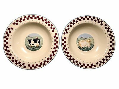 "Set of 2 Tienshan Cereal Soup Bowls 8 5"" Stoneware China Farm Animals Cow Sheep"