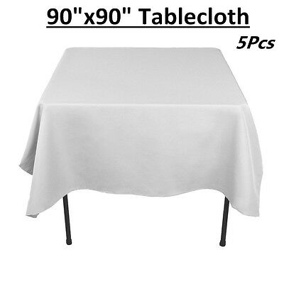 """5X 90"""" x 90"""" Polyester Tablecloth Square Table Cover Banquet Wedding Party Decor"""