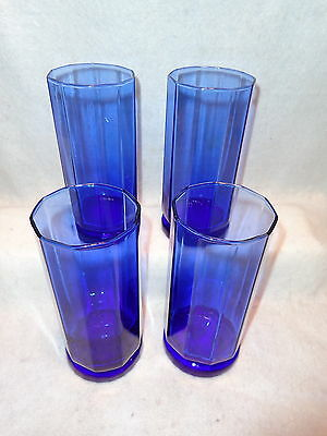 Anchor Hocking ESSEX COBALT BLUE Tall 16oz Ten Panel Glasses Tumblers Lot x 4