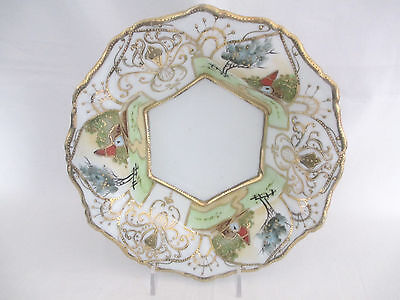 Nippon Porcelain Bowl With Gold Trim Hand Painted Scenic Design Nice!