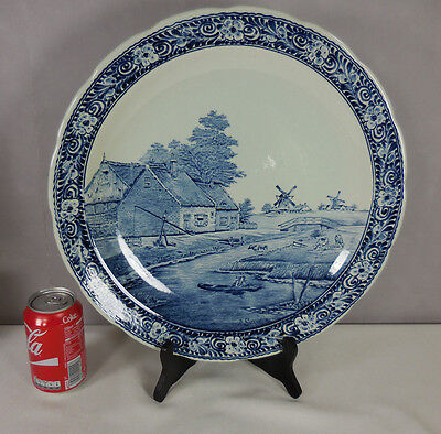 "Vtg Delft Boch  15 1/2 "" Charger Wall Plate"