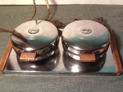 Vintage  ChicagoElectric Mfg. Co.  Double Chrome Waffle Iron 800 Watts/Working