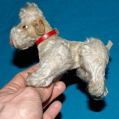 rare genuine STEIFF Poodle MOHAIR JOINTED TOY STRAW FILLED 14cm bear WITH BUTTON