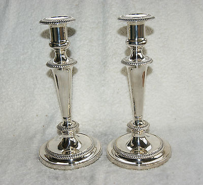 Pair Vintage Silver Plated Candle Holders Barker Ellis England
