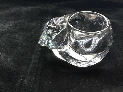 Heavy Glass Cat Candle Holder