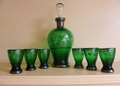 Vintage Venetian Glass Deep Emerald Green Decanter and 6 Shot Glasses
