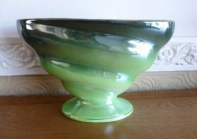 Maling Two Tone Green Lustre Ware Footed Vase/Planter