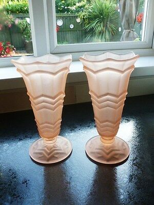 Pair of Sowerby Art Deco Pink Frosted Vases