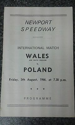 speedway programme 1966 (very rare) WALES  v POLAND  (unfilled)
