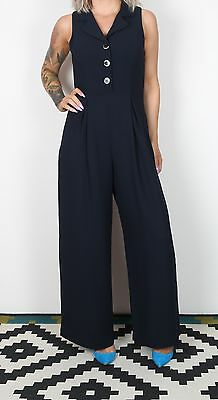 Jumpsuit UK 10 Small approx. 1980's Plain 80's All in one Navy  (8CD)