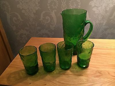 Set of Four Drinking Glasses And Matching Jug