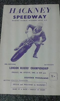 speedway programme 1965  LONDON RIDERS CHAMPIONSHIP  (UN filled )