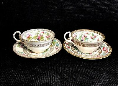Aynsley Indian Tree Tea Cup & Saucer Sets(2) Made In England