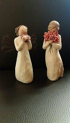 willow tree figures x 2..Angel of the heart & surrounded by love..