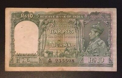 B1 Burma 10 Rupees 1938 P-5 Banknote Paper Money Currency British India Myanmar