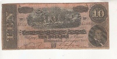 U44 US $10 Dollars 1864 T-68 Banknote Paper Money Confederate Currency Antique