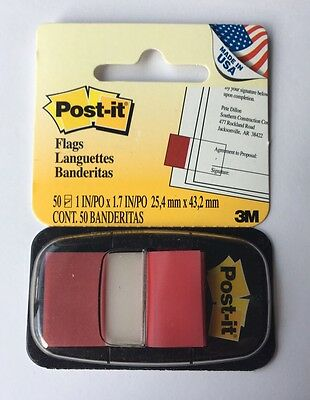 Post-it Flags, Red, 1-Inch Wide, 50/Dispenser, 1-Dispenser/Pack
