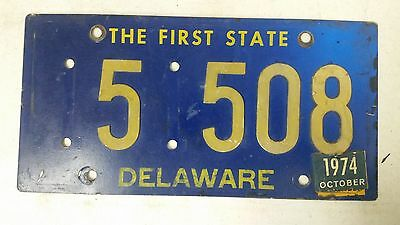 1974 DELAWARE The Free State License Plate 5 508