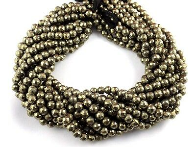 """1 Strands Natural Pyrite Faceted Rondelle Beads 6-6.5mm 13.5"""" Long Beads"""