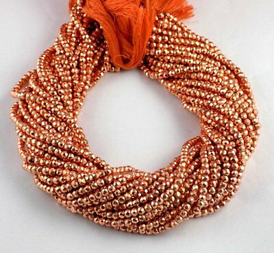 """5 Strands Copper Pyrite Faceted Gemstone Rondelle Beads 3.5-4mm Bead 13.5"""" Long"""