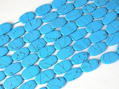 """5 Strands Synthetic Blue Turquoise Oval Shape 9x15-11x17mm 12"""" Long Smooth Bead"""