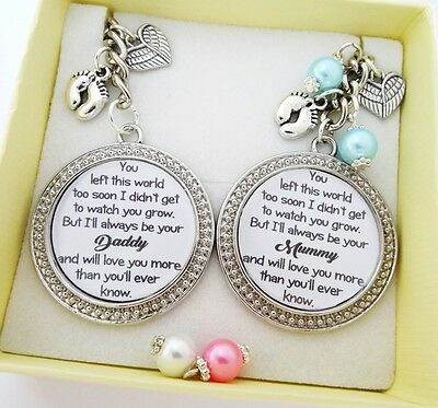 S.Keyring SET Left too soon..Daddy & Mummy of an Angel, Baby loss, miscarriage 9