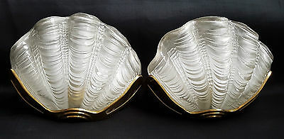 Vintage Pair Of Art Deco Style Glass Wall Lights Clear Clam Shell & Gold Frame
