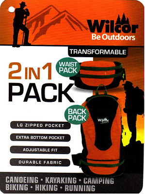 Waist Pack Backpack Transformable Convertible 2 in 1 Fanny Pack Orange