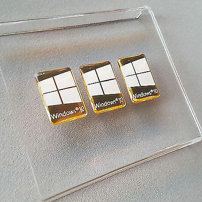 3 x Windows 10 Sticker Logo Decal Gold Domed Case Badge
