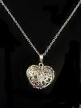 Filigree Silver Heart Crystal Filled Cage with Hallmarked 18' Silver Chain New