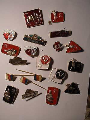 Job lot of 20 pin badges including ones from; Canada, China and CSA