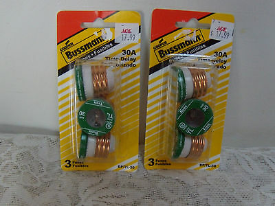 Bussmann Fuses 30 A Time Delay 125V Plug Fuses New In Package