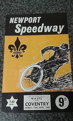 speedway programme 1966  NEWPORT v  COVENTRY ( UN filled )