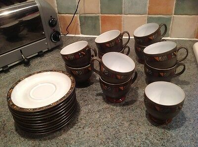 Denby Marrakesh stoneware cups and saucers ( 10 available )