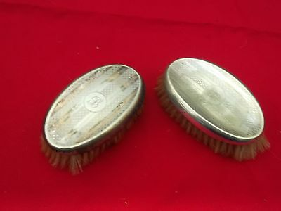 "Pair of men's antique silver plated hairbrushes with ""B"" monogram"