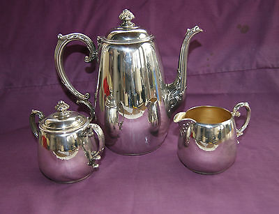 Vintage  Silver Plated  W M  Rogers~ 3 Piece Tea / Coffee  Set