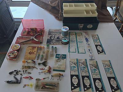 Vintage Tackle Box Full Loaded with Fishing Lures, line, reel, etc