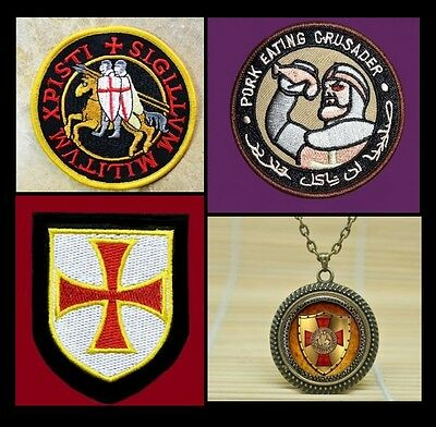 SET Knights Templar Seal CRUSADERS Masonic Iron or Saw On Patch & Seal Pendant